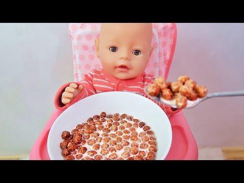 Куклы Пупсики Беби Бон на канале Зырики ТВ. Рома кушает шоколадные шарики и сюрприз на завтрак.