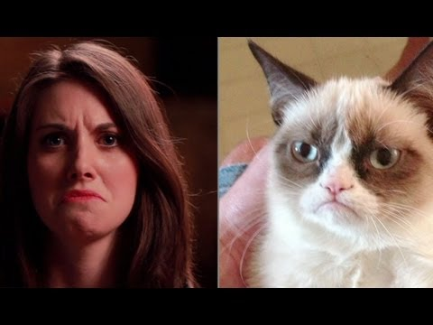 Alison - Alison Brie takes on Grumpy Cat, Overly Attached Girlfriend, Ermahgerd, and Unflattering Beyonce. Her Hadouken pose didn't end quite as successfully as it st...
