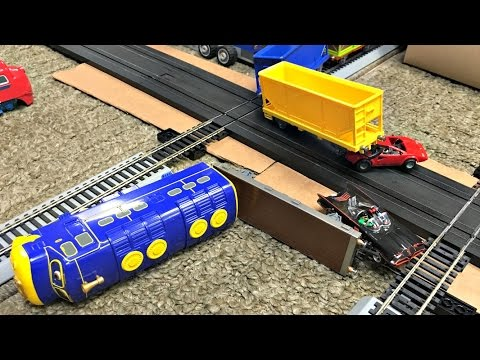 CHUGGINGTON VS BATMAN BATMOBILE TRAIN & SLOT CAR CRASHES