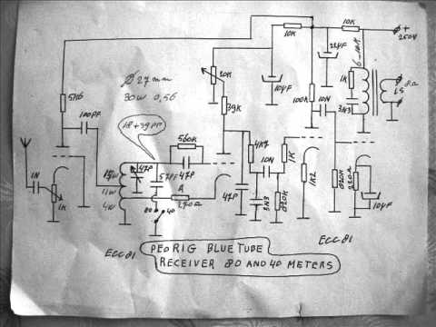 Circuit diagram homemade shortwave radio for 40 and 80 meters.