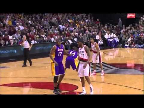 Miller to Aldridge alley-oop dunks on the Lakers