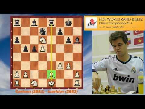 Magnus Carlsen – Ernesto Inarkiev, FIDE World Rapid 2014 (KID)