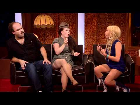Upskirt TV guest(s) at Ylvis' TVshow in Norway. With Katzenjammer.