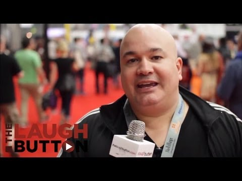 Robert Kelly on the floor at SXSW interactive with The Laugh Button