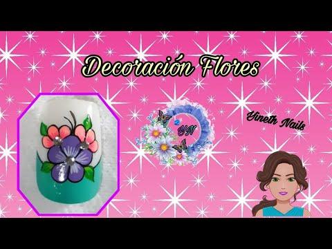 Modelos de uñas - Decoración de uñas flores paso a paso