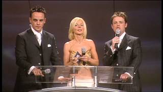 Download Lagu Robbie Williams wins British Male presented by Geri Halliwell | BRIT Awards 2001 Mp3