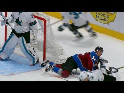 Video: Avalanche's Soderberg avoids serious injury as Pavelski's skate clips his neck