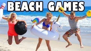 Beach Activities Challenge with Bowling, Unicorn Toss, Emoji Beach Balls and Giant Inflatables.Subscribe:http://goo.gl/F6BqkQJoin us for a fun day at the beach for the Beach Activities Challenge where we play a series of super fun beach games for kids including beach bowling, unicorn ring toss, and emoji beach ball. The player to earn the most points wins, but the loser will have to take a wild ride on the beach waves with Gloria, our giant unicorn inflatable. If you love playing at the beach then you'll love this summertime beach video! Featuring: Lindsey Jean Roetzel, Jenn Barlow, and Weston Meredith.Welcome to Totally TV, the totally fun channel just for kids! We'll have you laughing, singing, and dancing everyday with our challenges for kids, princess adventures, comedy sketches, songs, original music and so much more!More totally awesome videos we Like:Totally TV Videos for Kidshttps://www.youtube.com/playlist?list=PL8YI13LeOVR8lbbQ5rm7R3Qk-4rhyc9DsPrincess Adventureshttps://www.youtube.com/playlist?list=PL8YI13LeOVR-VjxujKTdxDpMZSl_qKHRoTotally TV Challengeshttps://www.youtube.com/playlist?list=PL8YI13LeOVR-J5hCPco08r4qWClHPiuxkPrincess Rap Battleshttps://www.youtube.com/playlist?list=PL8YI13LeOVR-wKOVnEzdOW3MBFH2ZoP79Pop Music Highhttps://www.youtube.com/playlist?list=PL8YI13LeOVR8FqDlK14uhQDBWbn6b6gCITotally TV Dance Videoshttps://www.youtube.com/playlist?list=PL8YI13LeOVR_tKx4QKC-DamaLDpdJPBR_Music: Totally TV OriginalTotally TV Channelhttps://www.youtube.com/user/DisneyToysFan/