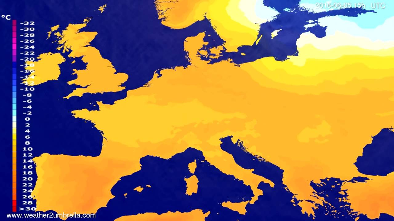 Temperature forecast Europe 2016-06-03