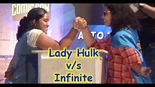 Video Comic Con: Lady Hulk vs Infinite Arm Wrestling Match MP3, 3GP, MP4, WEBM, AVI, FLV November 2017
