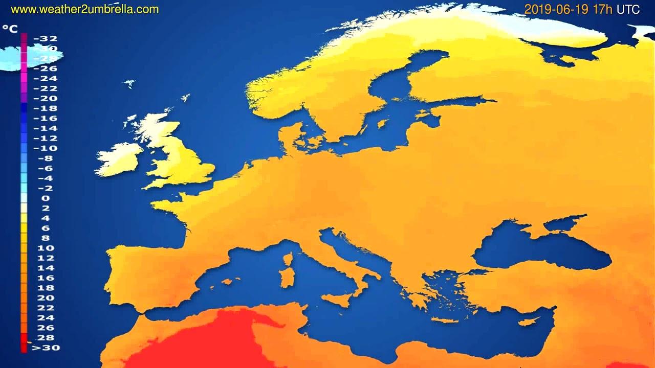 Temperature forecast Europe // modelrun: 12h UTC 2019-06-17