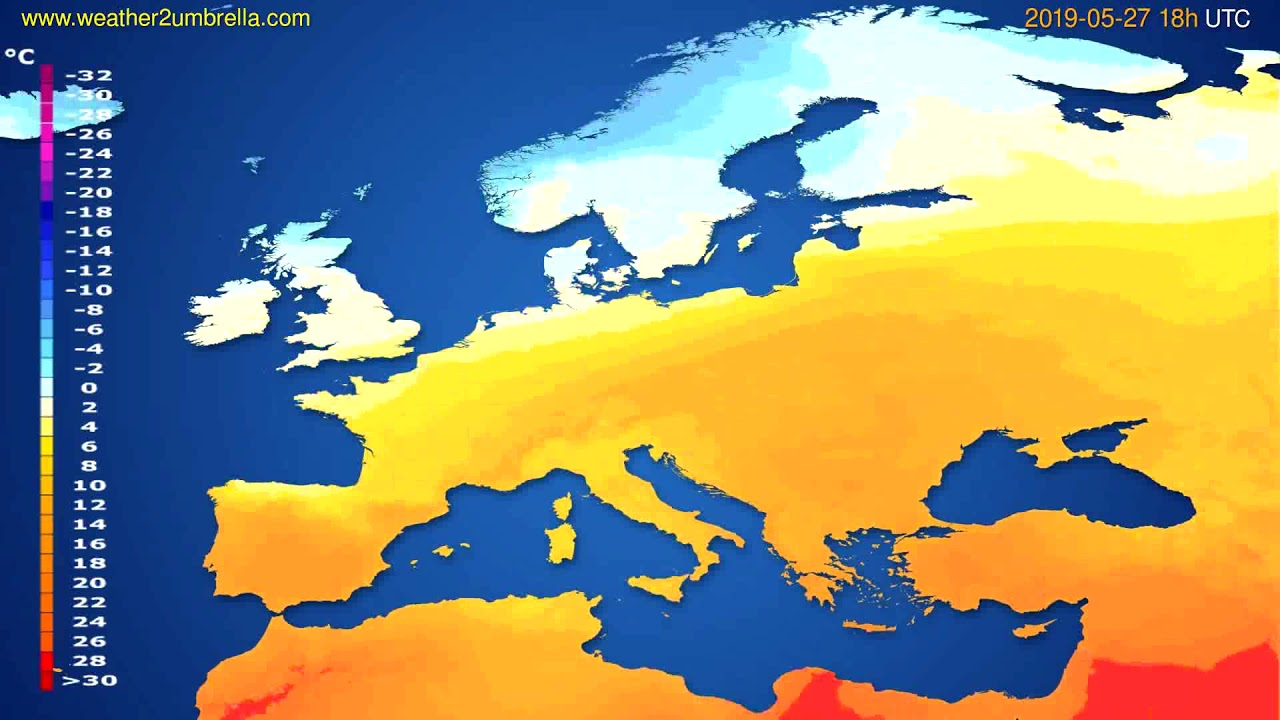 Temperature forecast Europe // modelrun: 00h UTC 2019-05-25