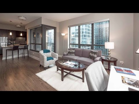 A furnished 2-bedroom, 2-bath in a convenient River North location