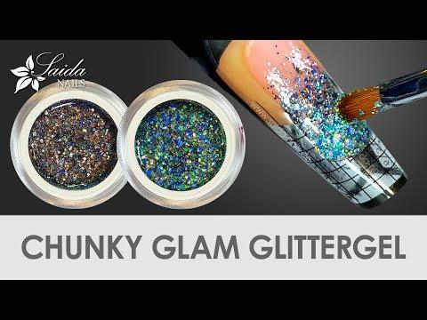 Nageldesign - CHUNKY GLAM Laser-Glittergele von Saida Nails