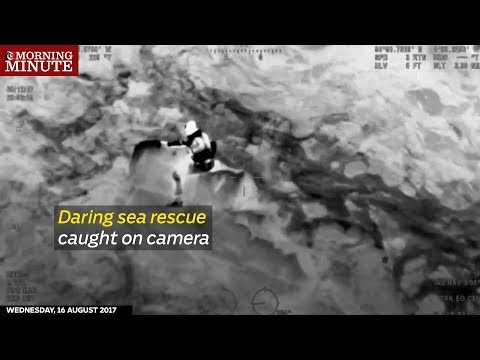 Footage has emerged showing a sea rescue in southwest England