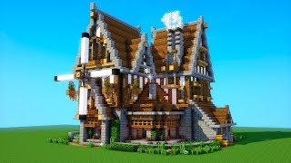 Minecraft Tutorial: How to build a BIG survival house ( Medieval Mansion ) 2018