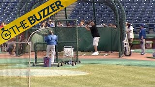 Charles Barkley took batting practice with the Cubs and it didn't go well by @The Buzzer