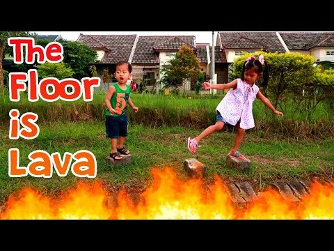 The FLOOR IS LAVA Challenge + Makan Es Krim Paddle Pop & Finger Family Nursery Rhymes Learn Color