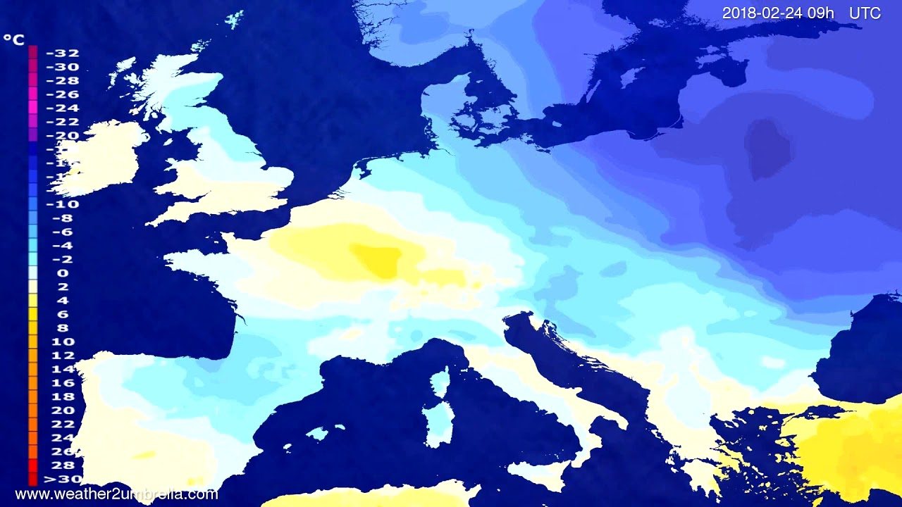 Temperature forecast Europe 2018-02-20