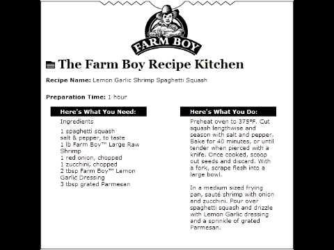 Farm Boy Commercial: Lemon Garlic Shrimp Spaghetti Squash