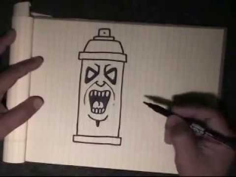 Easy Step by step - how to draw a simple spraycan character-with my voice instructions by WIZARD