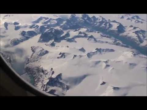 Flying over the southern tip of Greenland