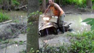 3. Polaris Scrambler 4x4 2 Stroke Takes on Deep Mud Hole