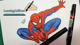 Spiderman drawing video using alcohol markers. Specifically Spectrum Noir markers and Prismacolor Markers.In this time lapse drawing video I draw Spider-man. I made this video as I wanted to test out some alcohol markers I purchased recently. In the video I use my Spectrum Noir  and my Prismacolor markers. I do have some copic markers too but only grey tones at this point so I didn't feature them in the video.I also use Faber Castell PITT pens for the inking and Faber Castell Polychromos pencil colours for shading. As mentioned in the video I only use the markers colour to add the initial 'flat' layer of colour. You can use alcohol markers for shading and blending but I like the effect you get with a mix of pencil colours too. The card / paper I use for the markers in the video is a copic marker paper. See the product list below.I would love to make more videos like this but I do find traditional medium very difficult to work with. But please let me know what other kind of videos you want to see in the future!I did not design this image by the way, I found an image on google to use as reference. I also decided to add some text over the video just to make it more interesting then a normal time lapse video. Maybe not quite a tutorial but there might be some tips in there that explain what I am doing a little. Thanks for watching everyone!Spectrum Noir markers - http://tinyurl.com/jrupdwjPrismacolor markers - http://tinyurl.com/jqgmml7Faber Castell Polychromos pencils - http://tinyurl.com/hgwr9u2Faber Castell PITT pens - http://tinyurl.com/h9y7cl2UNI POSCA pen - http://tinyurl.com/gnowzvlCopic card / marker paper - http://tinyurl.com/zhggjwffacebook- http://facebook.com/learningasidrawdeviantart-  http://learningasidraw.deviantart.comInstagram - https://www.instagram.com/learningasidrawart/twitter- http://twitter.com/learningasidrawblog- http://learningasidraw.blogspot.co.uk