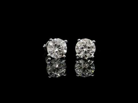 CGL Certified 3.04ct (TDW) Round Brilliant Cut Diamonds Earrings