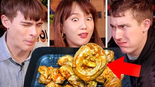 Video Trying EXTREME Korean 7-Eleven Foods!? Spicy Intestines + Chicken Feet!! MP3, 3GP, MP4, WEBM, AVI, FLV September 2019