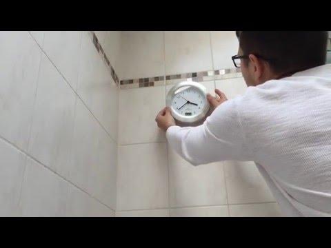 Badezimmeruhr mit Saugnapf von TechGalerie.de - unboxing Video