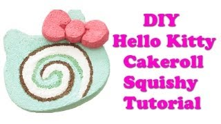 Homemade Hello Kitty Cakeroll Squishy Tutorial - YouTube