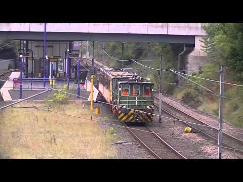 Battery Locos BL1 and BL2 haul Metrocar 4078 through Nort...