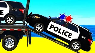 POLICE SUV CARS Transportation in Spiderman Cartoon for Childr...