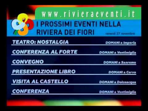 EVENTI NELLA RIVIERA DEI FIORI DI VENERDI' 27 NOVEMBRE 2015