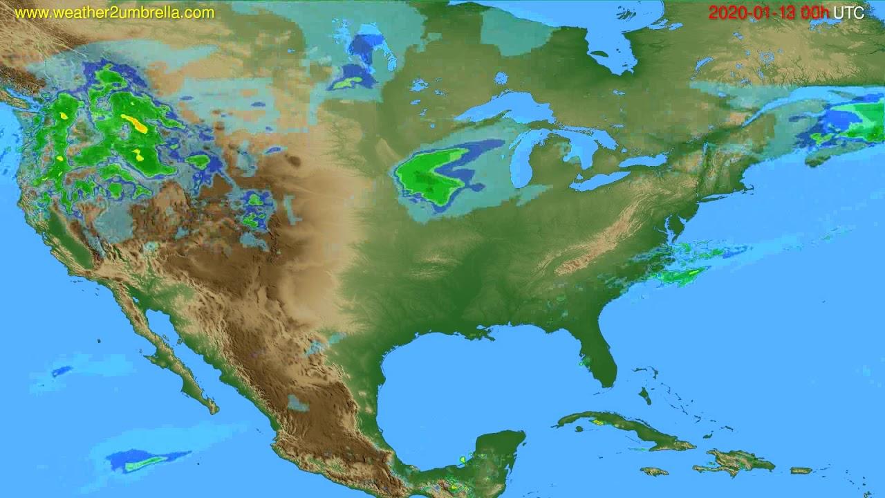 Radar forecast USA & Canada // modelrun: 12h UTC 2020-01-12