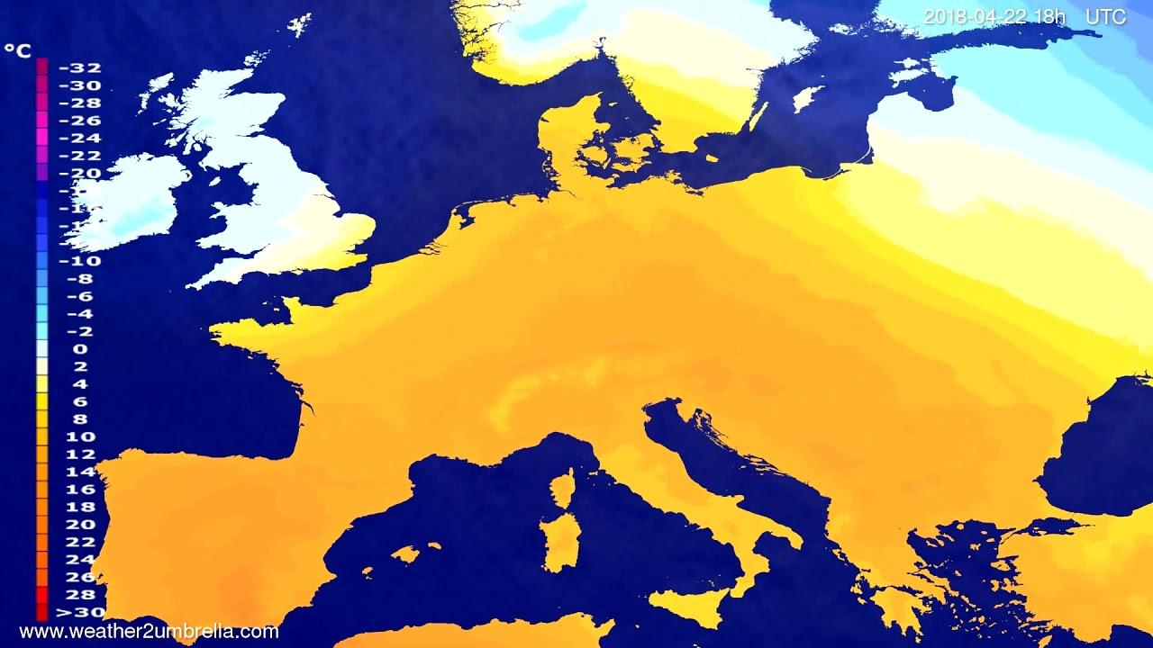 Temperature forecast Europe 2018-04-19