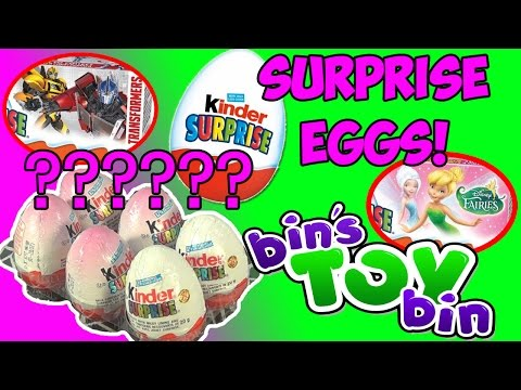 bin - HUGE thanks to Disney Toy Kids Club for the Surprise Eggs, go SUBSCRIBE to their channel! They are awesome!!: https://www.youtube.com/user/disneytoyclub We open up six Kinder Surprise eggs...