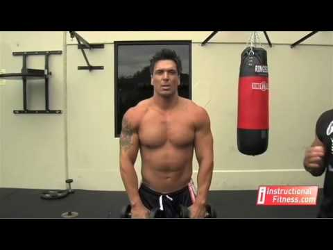 front delt - http://www.instructionalfitness.com Personal fitness trainer Joe Tong teaches the proper way to do dumbbell front raises. Exercises: The anterior deltoid, or...