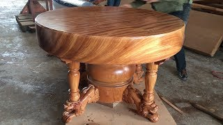 Video Excellent Woodworking Skills Carpenter // Build A Round Dining Table Extremely Giant and Beautiful MP3, 3GP, MP4, WEBM, AVI, FLV September 2018