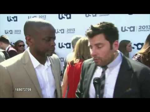 usa_network - Footage of the Psych Cast (James Roday, Dulé Hill, Maggie Lawson, Tim Omundson, Kirsten Nelson and Corbin Bernsen) at the 2013 USA Network Upfronts in NYC.