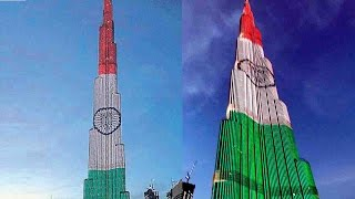 Burj Khalifa tower, the world's tallest building located in Dubai, lit up in the colours of the Indian National flag on Wednesday and Thursday to celebrate I...