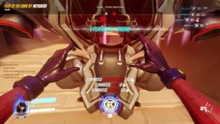 Overwatch - Enemy Roadhog hooks my D.va ult around Mei wall