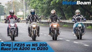 https://www.motorbeam.com does a 4 motorcycle drag race by putting the Yamaha FZ25 in comparison with the Pulsar NS 200, TVS Apache 200 and KTM Duke 250 in a quarter-mile drag race to see which bike is the fastest in the 200-250cc segment. We did multiple runs by switching riders but the result was the same time and again.While the Yamaha FZ25 competes with the KTM Duke 200, we chose the Duke 250 as it is a newer bike. As per our VBOX tests, the Duke 200 is also faster than the Yamaha FZ25.Become a #MotorBeamer: http://bit.ly/MotorBeamerVisit our website: https://www.motorbeam.comLike us on Facebook: https://www.facebook.com/MotorBeamFollow us on Instagram: http://www.instagram.com/MotorBeamAdd us on Snapchat: https://www.snapchat.com/add/MotorBeamFollow us on Twitter: https://www.twitter.com/MotorBeamCheck us out on Pinterest: https://www.pinterest.com/motorbeam+1 us on Google Plus: https://plus.google.com/+motorbeam