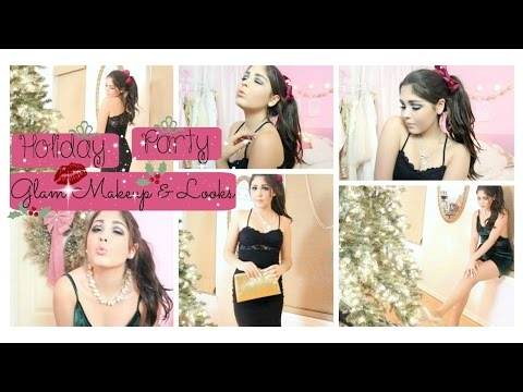 Holiday Party Glam Makeup & Outfit Ideas