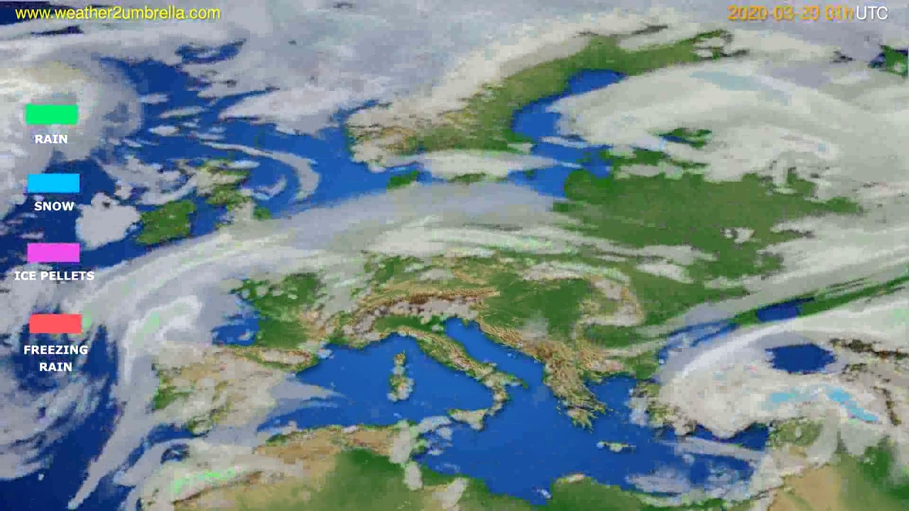 Precipitation forecast Europe // modelrun: 12h UTC 2020-03-18