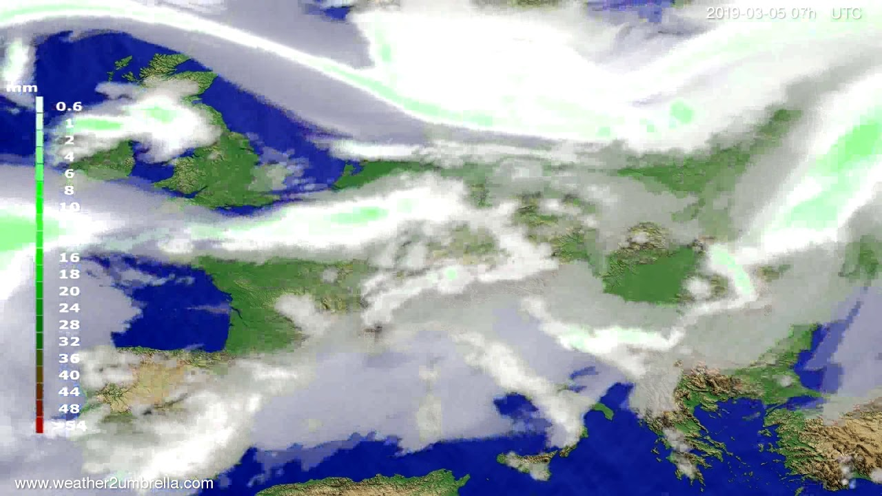 Precipitation forecast Europe 2019-03-05