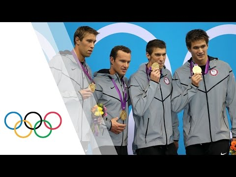 swim - The USA team, featuring Michael Phelps in his final Olympic race, win the gold medal in the 4 x 100m medley. The team, consisting of Phelps, Matt Grevers, Br...