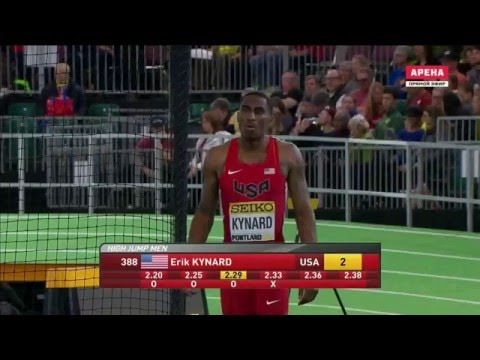 Erik Kynard 2.33 ( World indoor championship 2016 bronze medal. Men's high jump final )