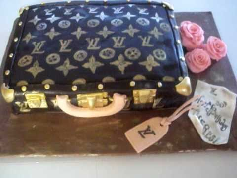 fondant suitcase cake - This cake is for a 30th birthday. The cake is red velvet with cream cheese filling. This cake is covered with chocolate fondant. I hand painted all the LV lo...